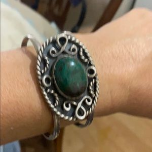 Sterling silver turquoise stone vintage bracelet